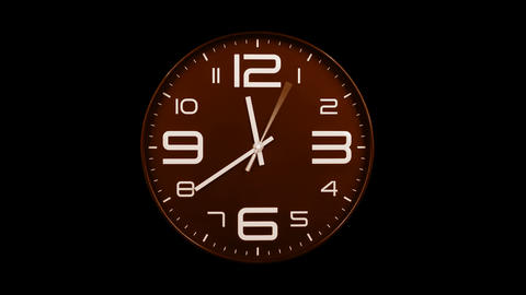 Modern orange clock face moving fast forward alpha channel Animation