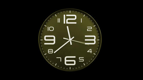 Modern golden clock face moving fast forward alpha channel Animation