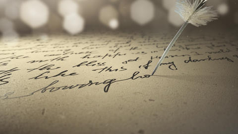 ink pen writes poetry on old paper Live Action