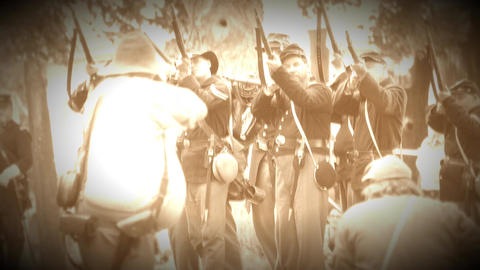 Union and Confederate Civil War soldiers in bat(Archive Footage Version) Live Action