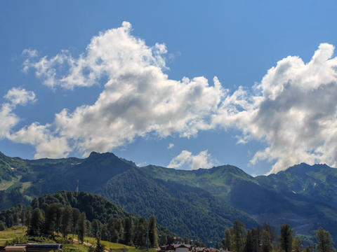 Rosa Khutor Plateau. Zoom. HDR, Sochi, Russia. Time Lapse Live Action
