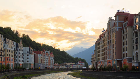 Quay Rosa Khutor at sunset. Sochi, Russia Footage