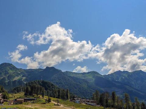 Rosa Khutor Plateau. HDR, Sochi, Russia. Time Lapse Footage