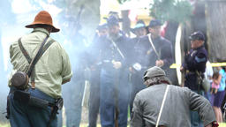 Civil War soldiers shooting at each other Footage