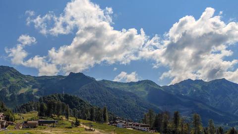 Olympic Village. Rosa Khutor Plateau. HDR, Sochi, Russia. Time Lapse Footage