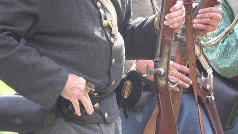 Union soldiers loading weapons Footage