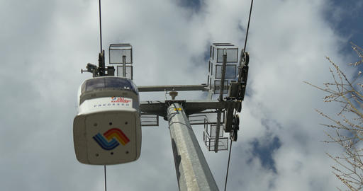 Close up of cableway in the blue sky Footage