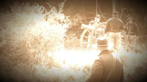Civil War soldiers fire canon (Archive Footage Version) Live Action