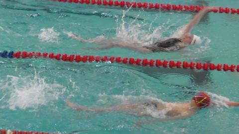 Orenburg, Russia - 21 April 2016: Juniors compete in swimming backstroke Footage