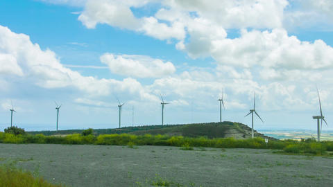 Wind turbines rotating, generating renewable energy. Innovative technologies Footage
