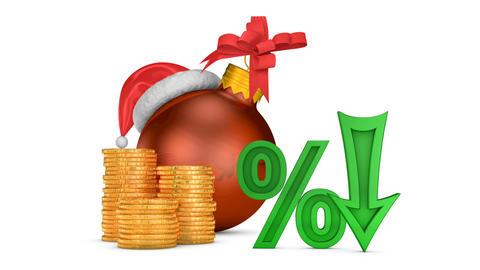 arrow percent and Christmas ball Animation