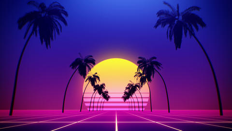 80's retro style background with tropical coconut trees and summer sunset from 3d render looped Animation