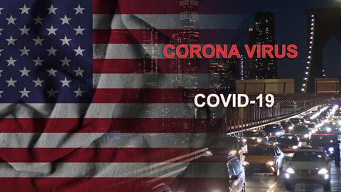 Pandemic U.S. canceled travel quarantine covid-19 New York City, US Flag flying Live Action