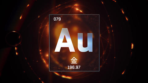 Gold as Element 79 of the Periodic Table 3D illustration on orange background Animation