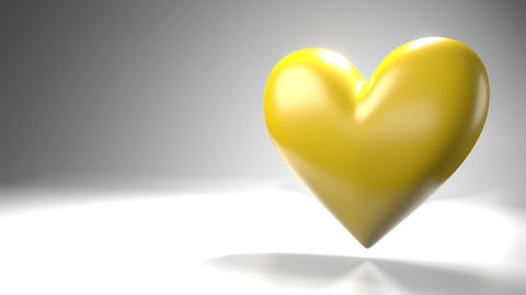Pulsing yellow heart shape object on white text space Animation