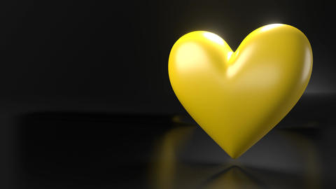 Pulsing yellow heart shape object on black text space Animation