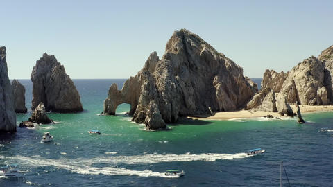 Impressive Rock Formations and Natural Arch, Landmark of Cabo, Mexico, Aerial Live Action