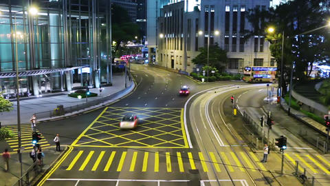 Hong Kong Crossroads at Night. Fast Motion Live Action