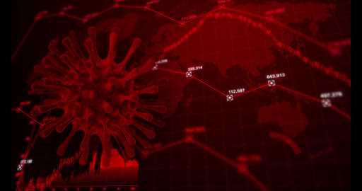 3D rendering virus and business stock graph, for Coronavirus Covid-19 disease economy, falling and Live Action