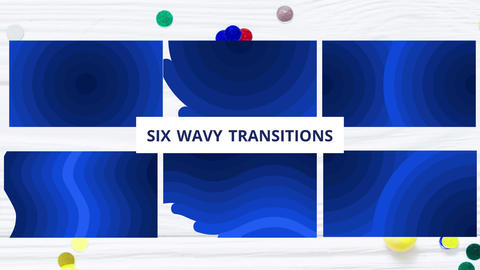 Wave-like transitions Motion Graphics Template