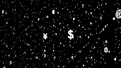 3D Rendering of world currency floating, on the dark background Live Action