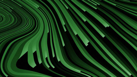 Green twisted stripes in motion, stripes forming shape like a hill, dark green Animation