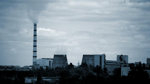 Plant Thermal Power Plant Working with pipes and smoke on a background Live Action