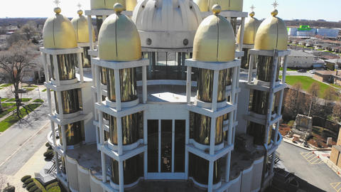 Flight over the Ukrainian Church in Chicago, Illinois. Church with golden domes Live Action