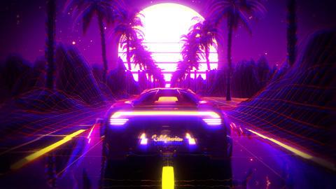 3D Retro Synthwave Palms Landscape VJ Loop Motion Background Animation