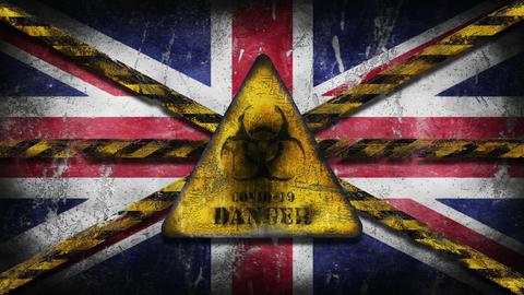 Coronavirus COVID-19 outbreak. Worn Yellow Biohazard, danger, warning sign over flag of United Animation