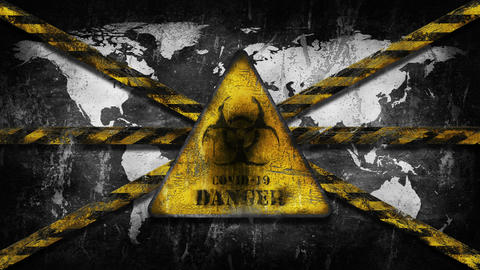 Covid 19 Danger Biohazard Sign Worl Map Animation Animation