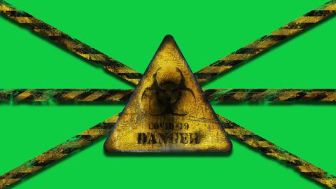 Coronavirus COVID-19 outbreak. Worn Yellow Biohazard, danger, warning sign with Chrom Key, Green GIF