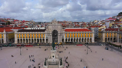 Commerce Square Lisbon called Praca do Comercio from above - the central square Live Action