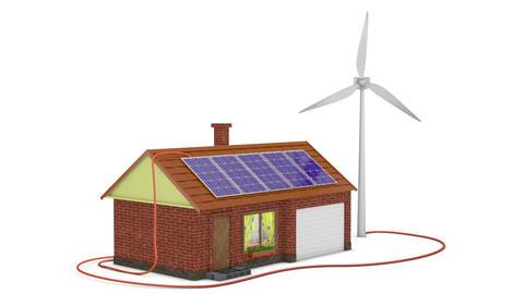 Solar panels and wind generator Animation