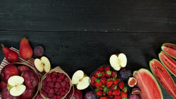 Red Fruits stop motion animation copy space 4k intro video food background black CG動画素材