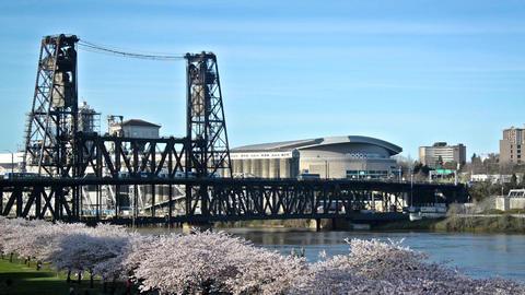 Steel Bridge and Moda Center Footage