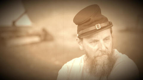 Civil War soldier sits near camp (Archive Footage Version) Footage