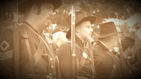 Row of Union Civil War soldiers (Archive Footage Version) Live Action