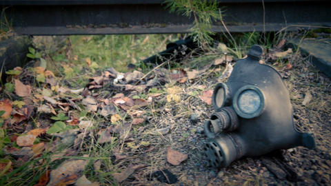 Gas mask on railroad Footage