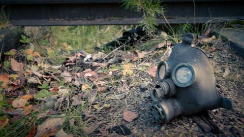 Gas mask on railroad Footage