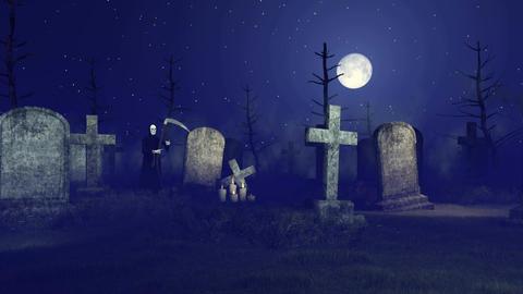 Grim reaper at spooky night graveyard Footage