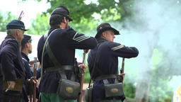 Civil War soldiers performing reloads during war Footage