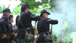 Civil War soldiers performing reloads during war Footage