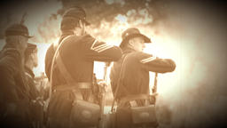 Civil War soldiers performing reloads during war (Archive Footage Version) Footage