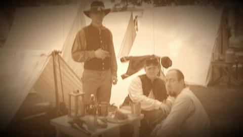 Civil War soldiers pose in an encampment (Archive Footage Version) Footage