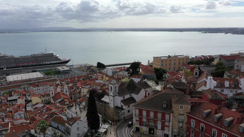 Aerial view over the historic Alfama district of Lisbon Live Action