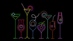 Neon Cocktail Glasses graphic animation Animation