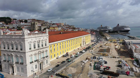 Beautiful buildings around Commerce Square Lisbon - the famous Praca do Comercio Live Action