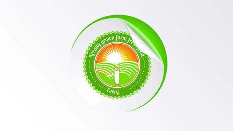 circular healthy eco green good design originally conceived with a label like texture peeling off a Animation