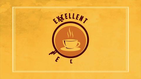 warm coffee mug trademark design on a yellow blurred scene garnished with an fancy edge Animation